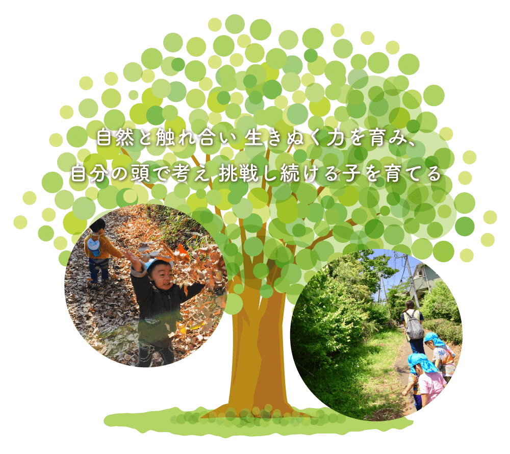 自然と触れ合いながら 生きぬく力を育み、 自分の頭で考えながら挑戦し続けられる子を育てる